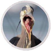 Heron With Attitude Round Beach Towel