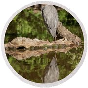 Round Beach Towel featuring the photograph Heron X 2 by Ross G Strachan