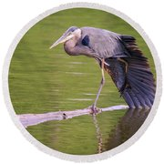 Heron Yoga Round Beach Towel