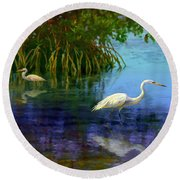 Herons In Mangroves Round Beach Towel by David  Van Hulst