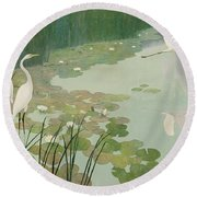 Herons In Summer Round Beach Towel