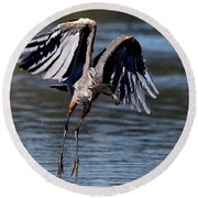 Great Blue Heron In Flight With Fish Round Beach Towel