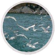 Herring Gulls At Pictured Rocks Round Beach Towel