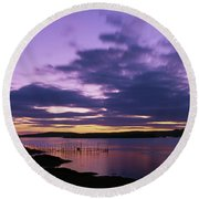 Herring Weir, Sunset Round Beach Towel