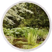 Herronswood Wetlands Round Beach Towel by Victoria Harrington