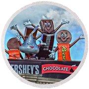 Hershey's Chocolate World Sign Round Beach Towel