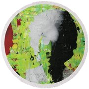 Round Beach Towel featuring the painting He's Not Selling Any Alibis by Jayime Jean
