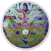 Round Beach Towel featuring the painting Hexagram 15-qian  by Denise Weaver Ross