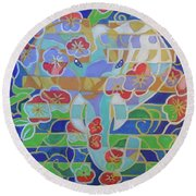 Round Beach Towel featuring the painting Hexagram 16 - Yu - Enthusiasm by Denise Weaver Ross
