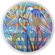 Round Beach Towel featuring the painting Hexagram 17-sui by Denise Weaver Ross