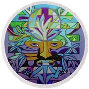 Round Beach Towel featuring the painting Hexagram 24-fu-turning-point by Denise Weaver Ross