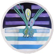 Round Beach Towel featuring the painting  Hexagram 34-ta Chuang-vigor by Denise Weaver Ross