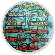 Round Beach Towel featuring the painting Hexagram 37-jiaren-family by Denise Weaver Ross