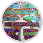 Round Beach Towel featuring the painting Hexagram 39-jian by Denise Weaver Ross