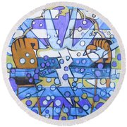 Round Beach Towel featuring the painting Hexagram 40-jie-liberation by Denise Weaver Ross