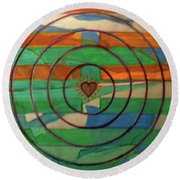 Round Beach Towel featuring the painting Hexagram 41-sun-decrease by Denise Weaver Ross