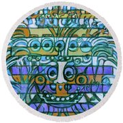 Round Beach Towel featuring the painting  Hexagram-42-yi-increase by Denise Weaver Ross