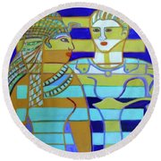 Round Beach Towel featuring the painting Hexagram 44-gou-encounter by Denise Weaver Ross