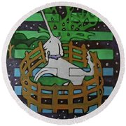Round Beach Towel featuring the painting Hexagram 47-kun-set-yourself-free by Denise Weaver Ross