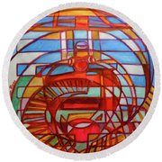 Round Beach Towel featuring the painting Hexagram 48-jing-the Well by Denise Weaver Ross