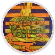 Round Beach Towel featuring the painting Hexagram 50-ding-the-cauldron by Denise Weaver Ross