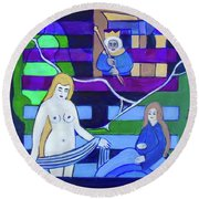 Round Beach Towel featuring the painting Hexagram 54-gui Mei-dangerous Liaison by Denise Weaver Ross