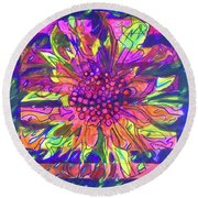 Round Beach Towel featuring the painting Hexagram-55-feng-abundance by Denise Weaver Ross