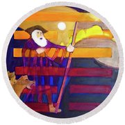 Round Beach Towel featuring the painting Hexagram 56-lu-the Wanderer by Denise Weaver Ross