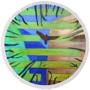 Round Beach Towel featuring the painting Hexagram-57-xun-penetrating-wind- by Denise Weaver Ross
