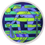 Round Beach Towel featuring the painting Hexagram-58-tui-joy by Denise Weaver Ross