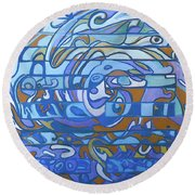 Round Beach Towel featuring the painting Hexagram 59 - Huan Dispersion by Denise Weaver Ross