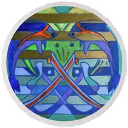 Round Beach Towel featuring the painting Hexagram-61-zhoong-fu-sincerity by Denise Weaver Ross