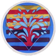Round Beach Towel featuring the painting Hexgram-25-wu-wang-hexagram by Denise Weaver Ross