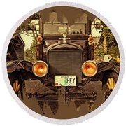 Hey A Model T Ford Truck Round Beach Towel
