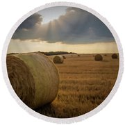 Round Beach Towel featuring the photograph Hey Bales And Sun Rays by David Dehner
