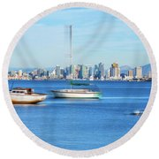Hey Boats, You Are Blocking My View Round Beach Towel by Joseph S Giacalone