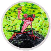 Round Beach Towel featuring the painting Hey  People by Viktor Lazarev