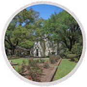 Round Beach Towel featuring the photograph Heyman House Garden 5 by Gregory Daley  PPSA