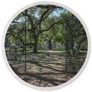 Round Beach Towel featuring the photograph Heyman House Gates 1 by Gregory Daley  PPSA