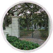 Round Beach Towel featuring the photograph Heyman House Gates by Gregory Daley  PPSA