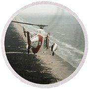 Hh-52a Beach Patrol Round Beach Towel