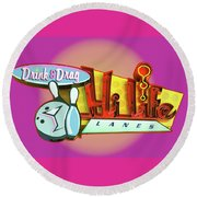 Round Beach Towel featuring the photograph Hi Life Drink And Drag by Jeff Burgess