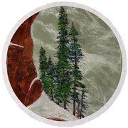 Hi Mountain Pine Trees Round Beach Towel