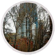 Round Beach Towel featuring the digital art Hi-rise Living  by Stuart Turnbull