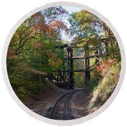 Hiawassee Loop Railroad Trestle Round Beach Towel