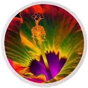 Hibiscus 01 - Summer's End - Photopower 3189 Round Beach Towel by Pamela Critchlow