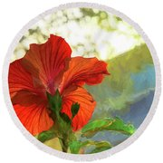 Hibiscus Aglow Round Beach Towel