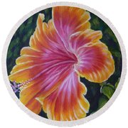 Round Beach Towel featuring the painting Hibiscus by Amelie Simmons