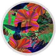 Hibiscus And Hummers Round Beach Towel