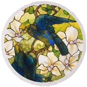 Hibiscus And Parrots Round Beach Towel
